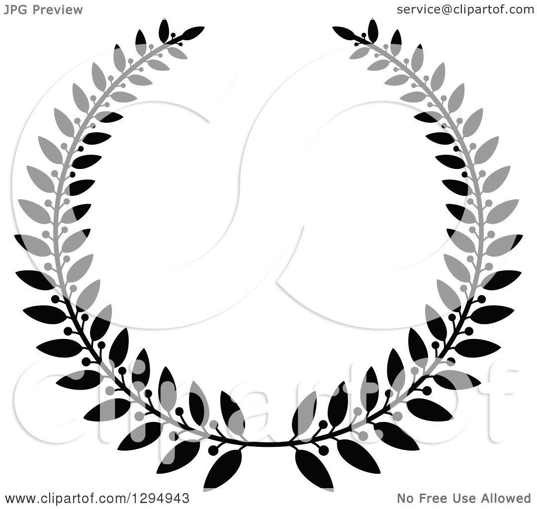 Clipart Of A Black And White Laurel Wreath 3 Royalty