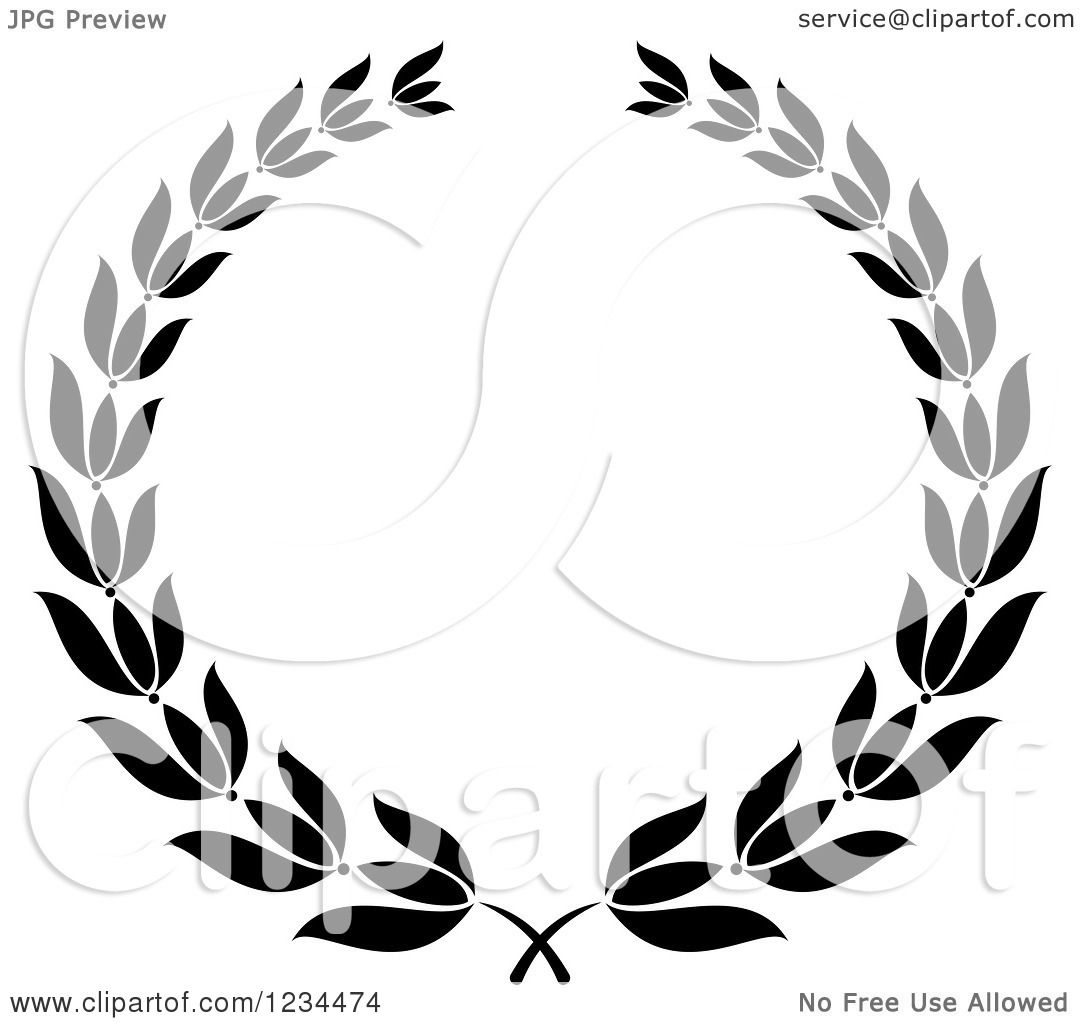 Clipart Of A Black And White Laurel Wreath 8 Royalty