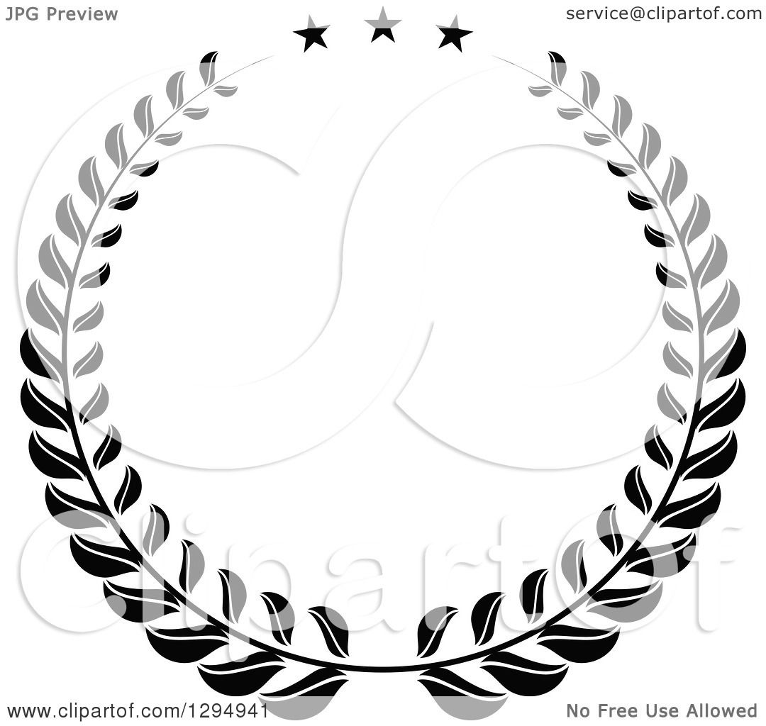 Clipart of a Black and White Laurel Wreath with Stars ...