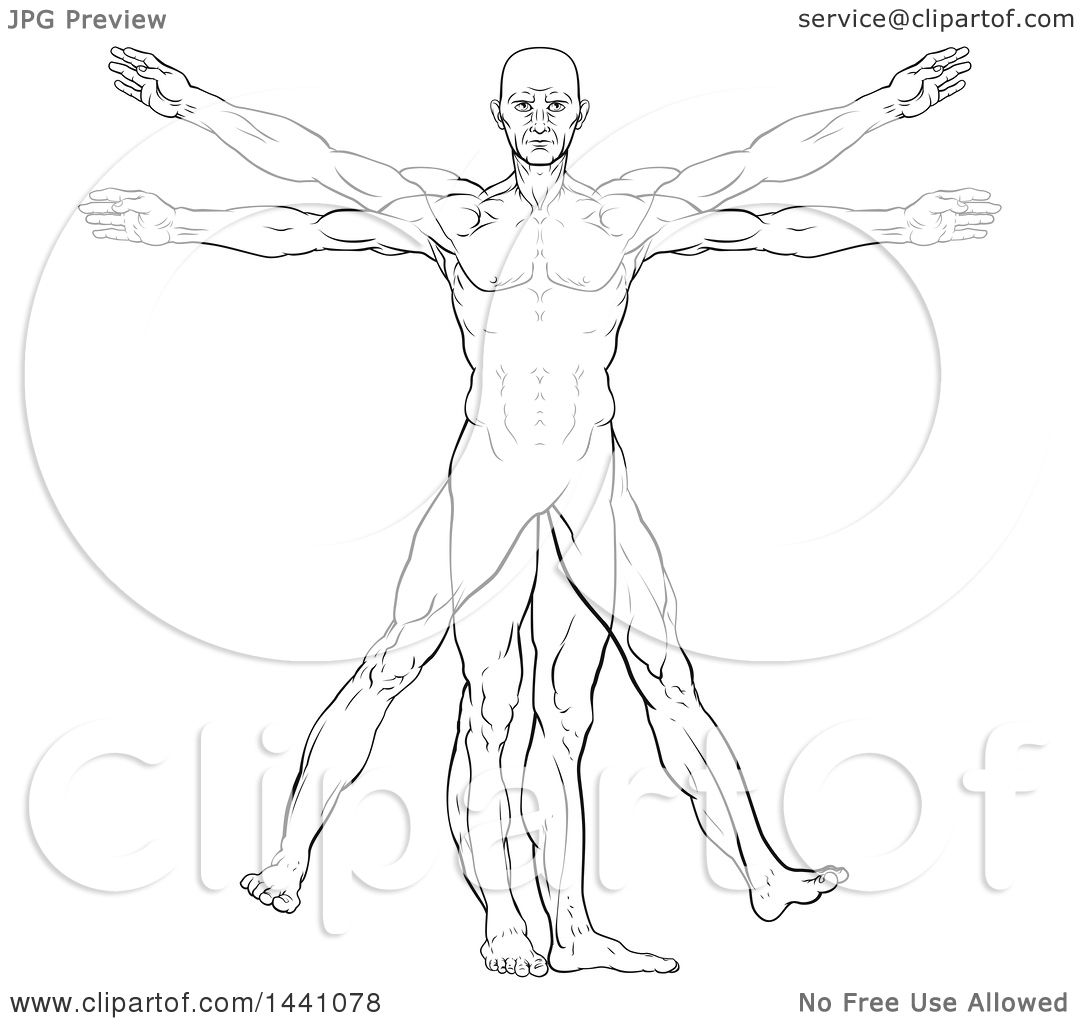 Clipart of a Black and White Leonard Da Vinci Vitruvian Man ...
