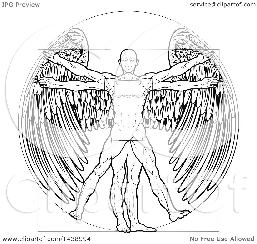 Clipart of a Black and White Leonard Da Vinci Vitruvian Man with ...