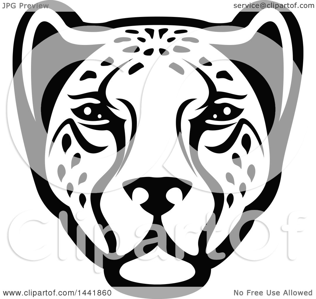 Clipart of a Black and White Leopard or Cheetah Face - Royalty Free ... for Clipart Leopard Face  21ane