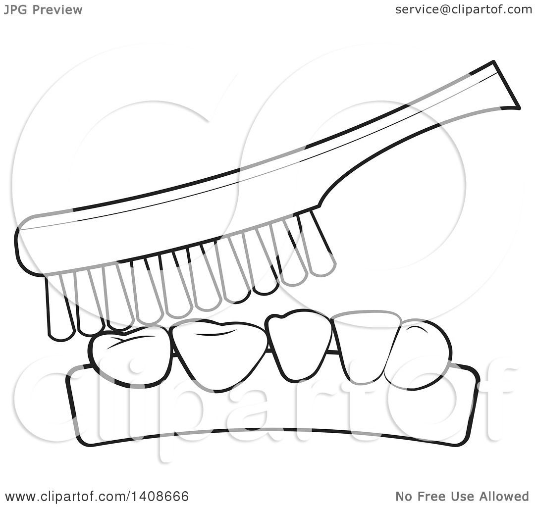 Clipart of a Black and White Lienart Toothbrush and Teeth ...