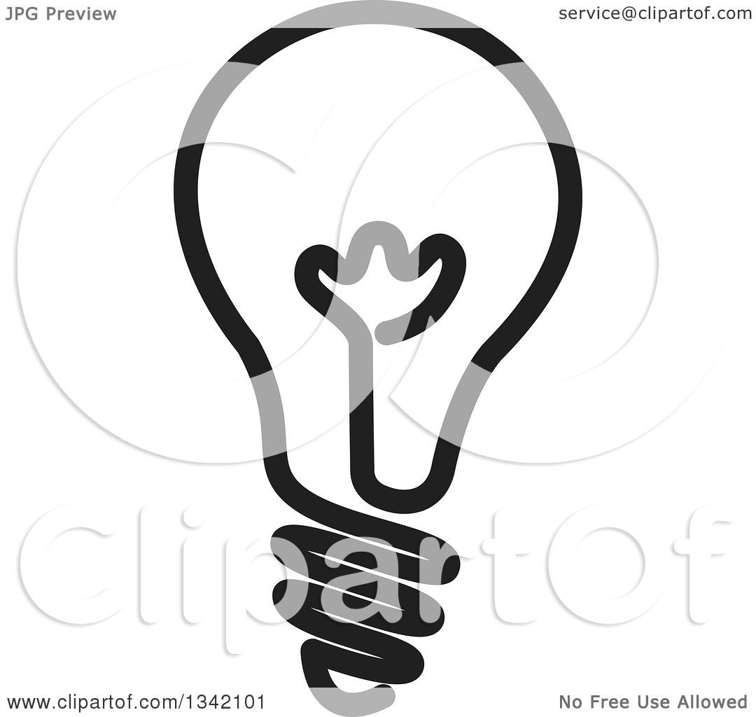 Clipart of a Black and White Light Bulb - Royalty Free Vector ... for Black Light Bulb Clip Art  51ane