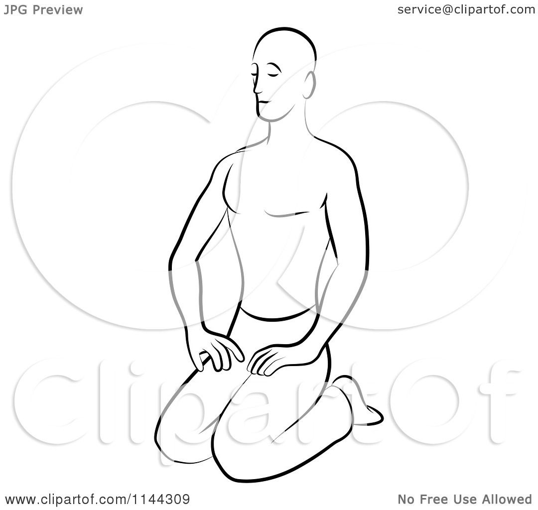 Line Art Yoga : Clipart of a black and white line drawing man doing