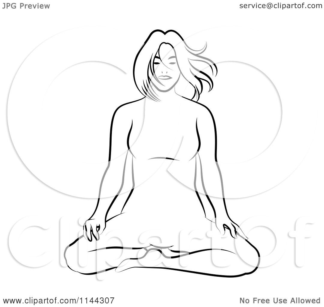 Line Art Yoga : Clipart of a black and white line drawing woman doing