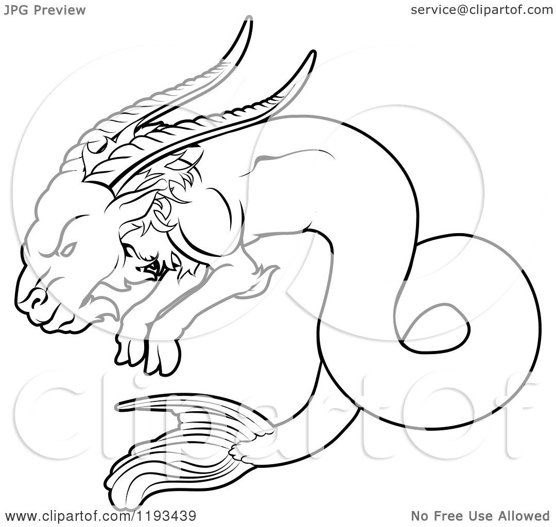 Zodiac Line Drawing : Clipart of a black and white line drawing the capricorn