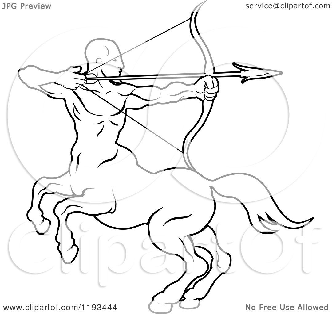Zodiac Line Drawing : Clipart of a black and white line drawing the