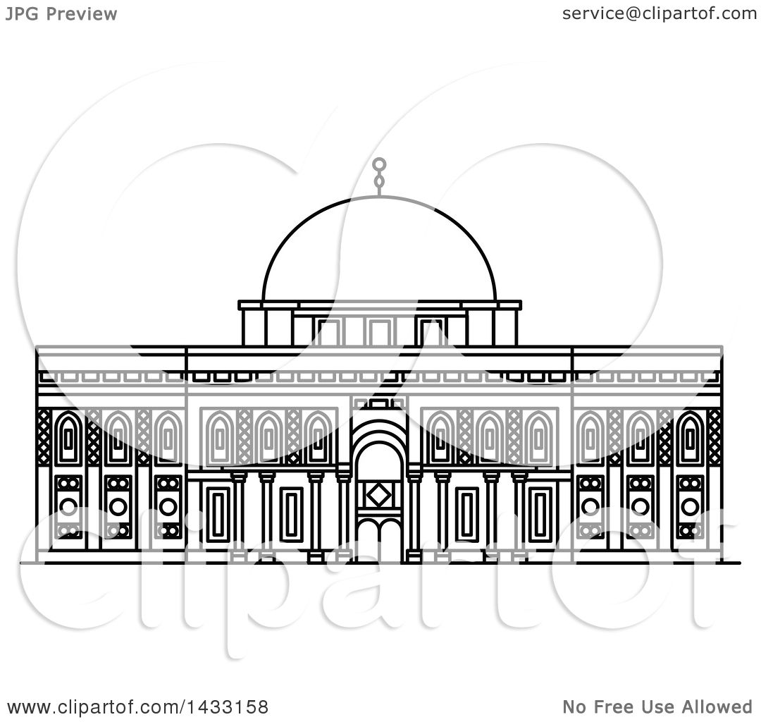 Line Drawing Jerusalem : Clipart of a black and white line drawing styled israel