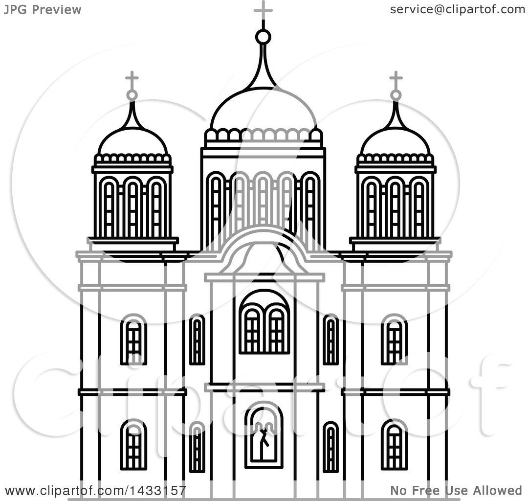 Line Art Jerusalem : Clipart of a black and white line drawing styled israel