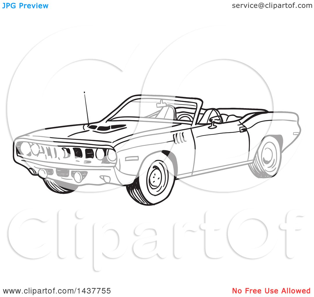 clipart of a black and white lineart 1971 hemi plymouth