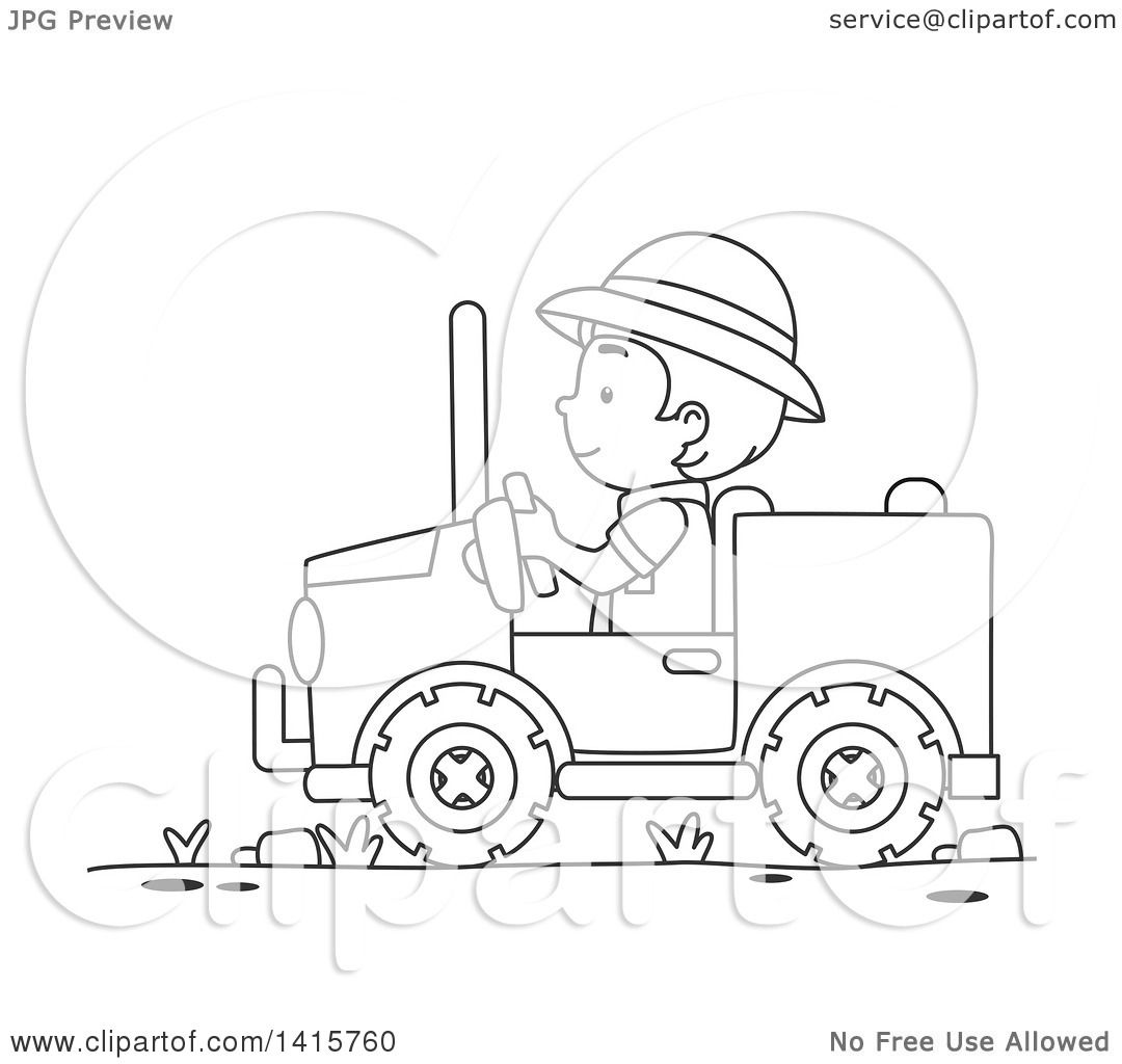 clipart of a black and white lineart boy driving a safari jeep