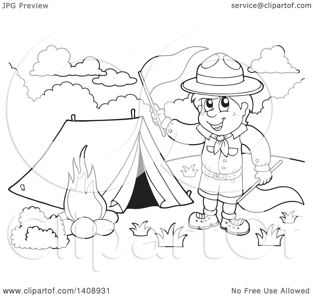 Clipart Of A Black And White Lineart Camping Scout Boy Waving Red Flags