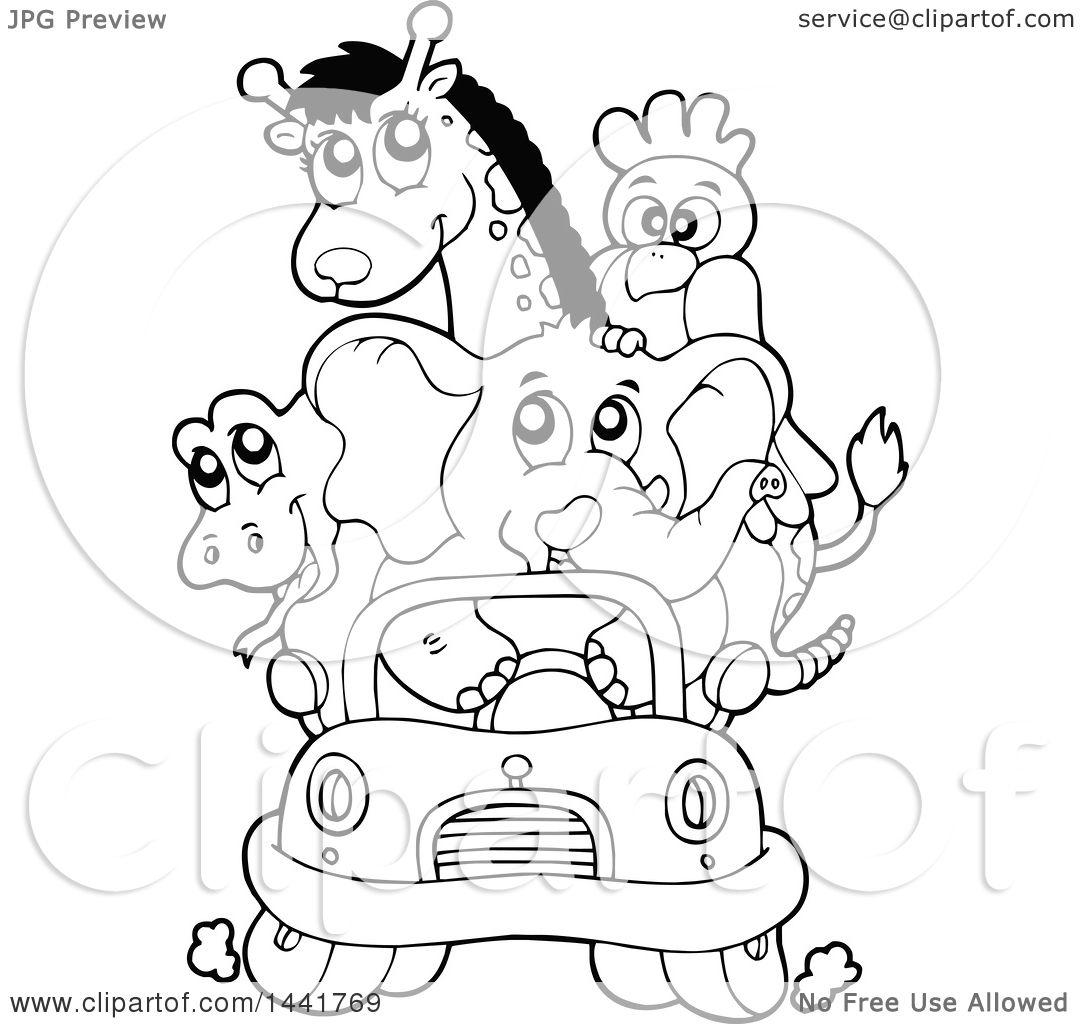 Clipart of a Black and White Lineart Car Full of Zoo ...