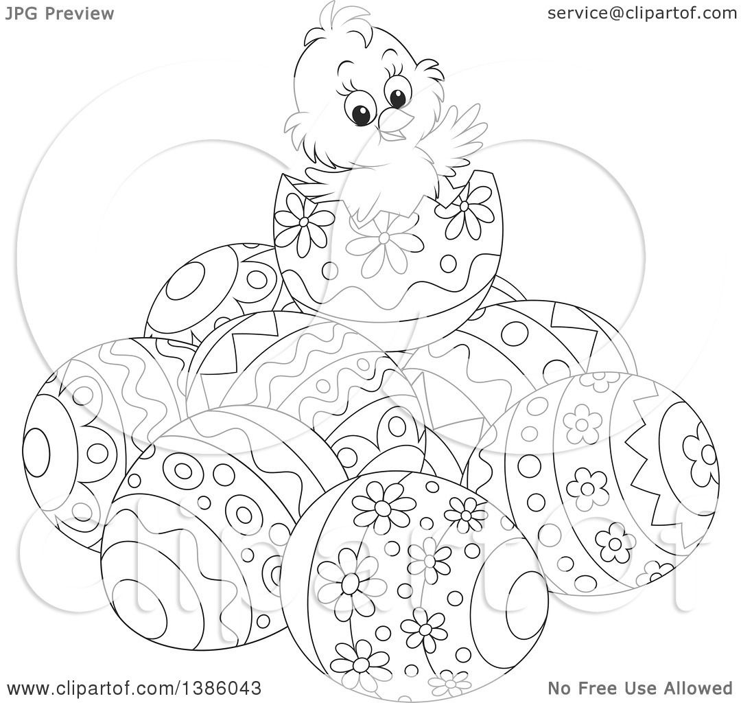 Clipart of a Black and White Lineart Chick on Top of a ... Easter Clipart Free Black And White