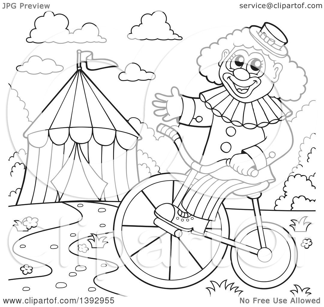 clipart of a black and white lineart circus clown on a