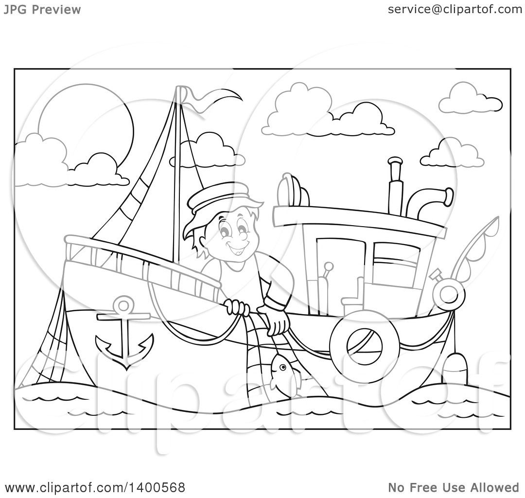 Clipart Of A Black And White Lineart Fisherman On A Boat Royalty Free Vector Illustration By Visekart 1400568