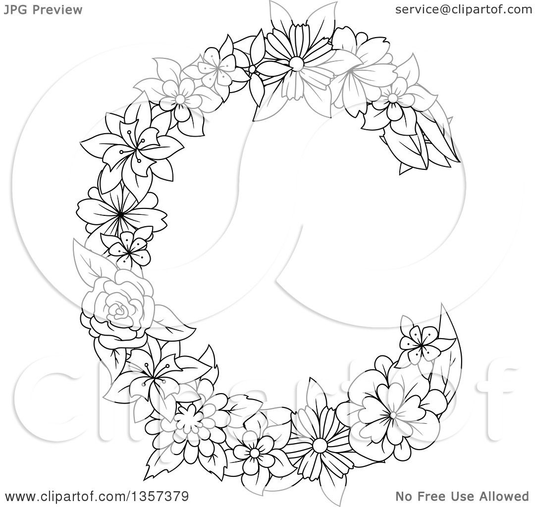 Clipart Of A Black And White Lineart Floral Letter C