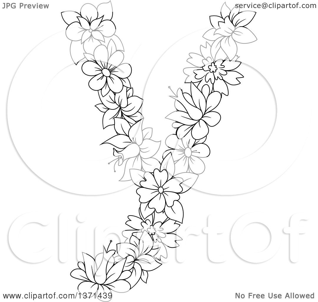 Clipart Of A Black And White Lineart Floral Lowercase Alphabet