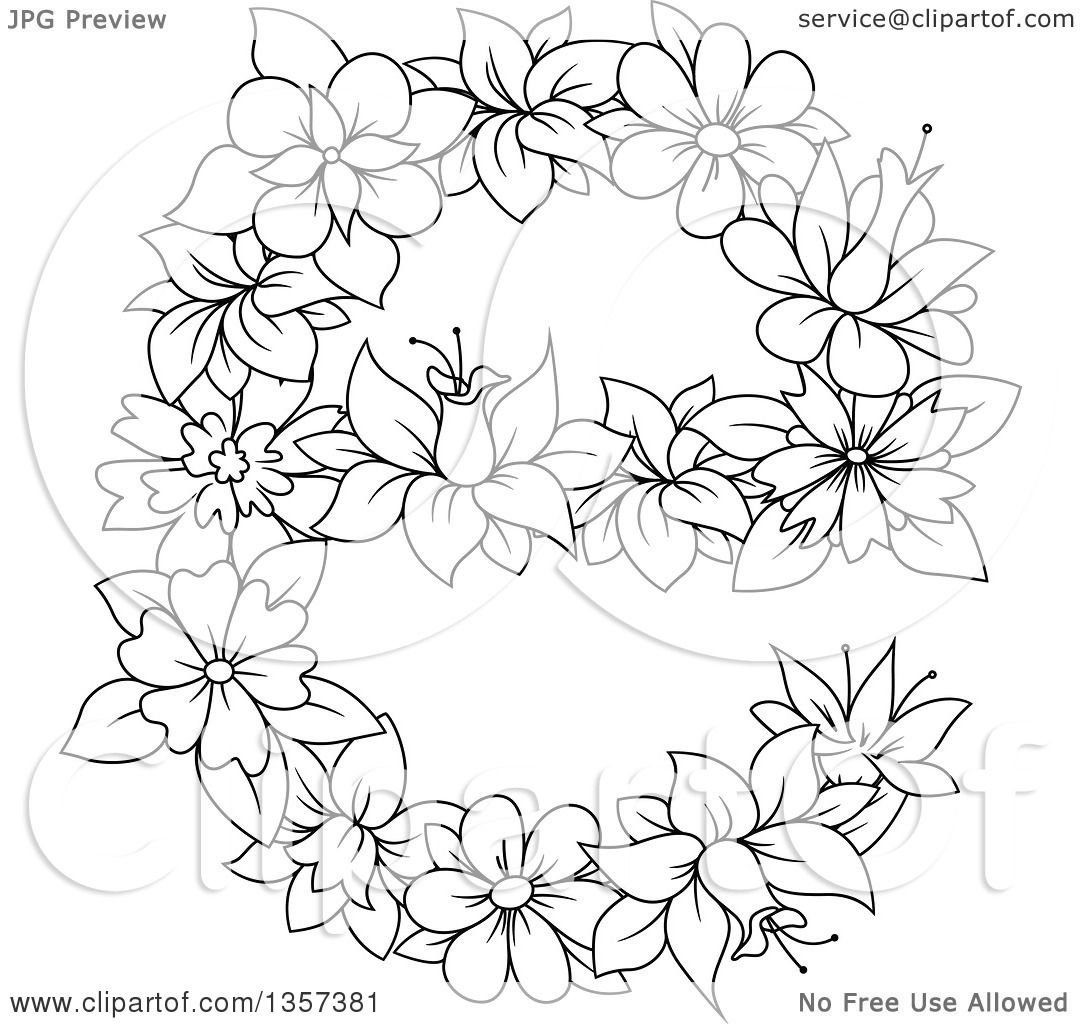 clipart of a black and white lineart floral lowercase letter e