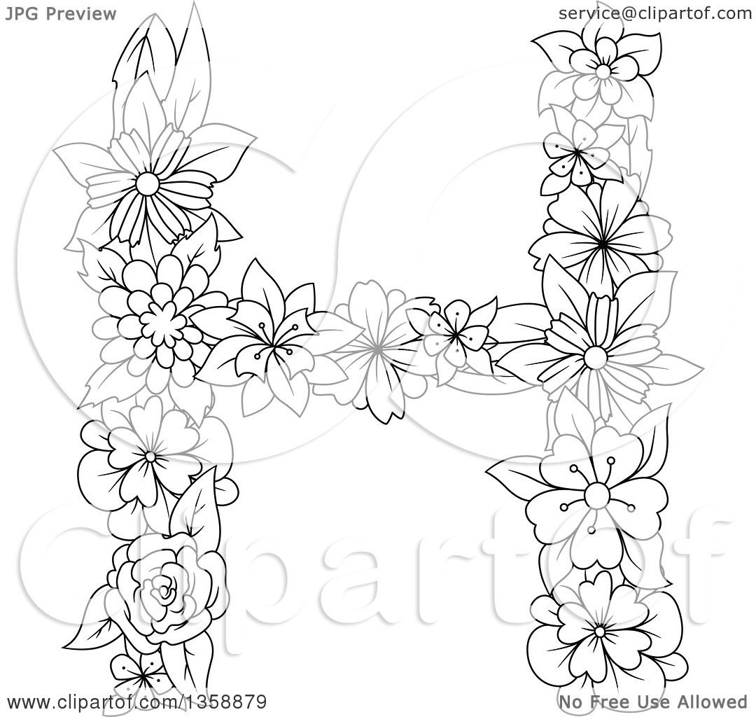 Clipart Of A Black And White Lineart Floral Uppercase Alphabet