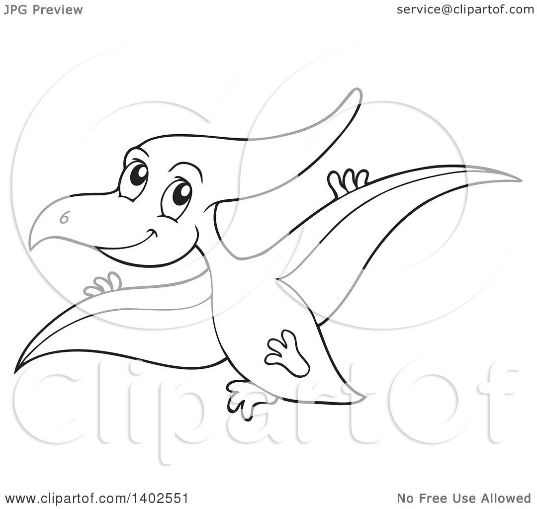 Clipart Of A Black And White Lineart Flying Pterodactyl