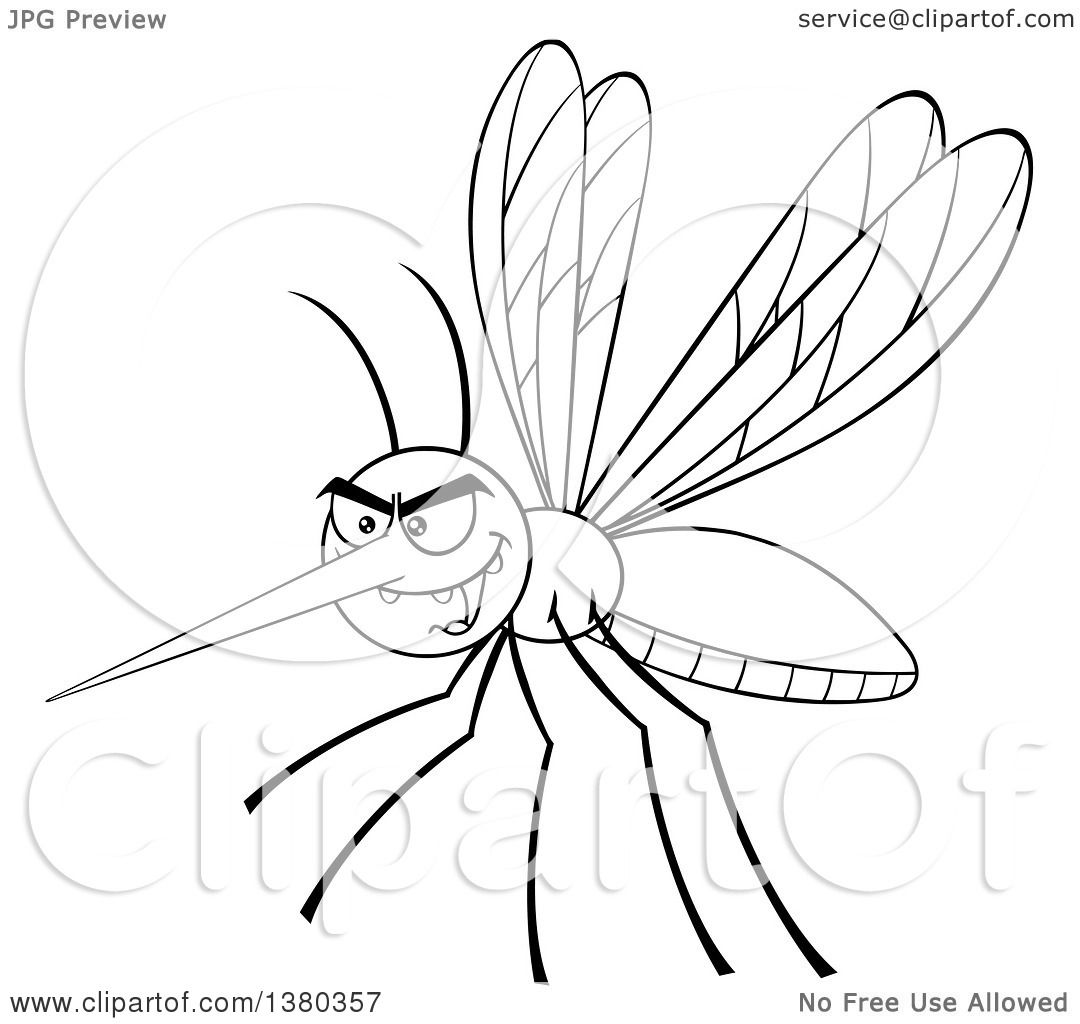 clipart of a black and white lineart grinning evil mosquito