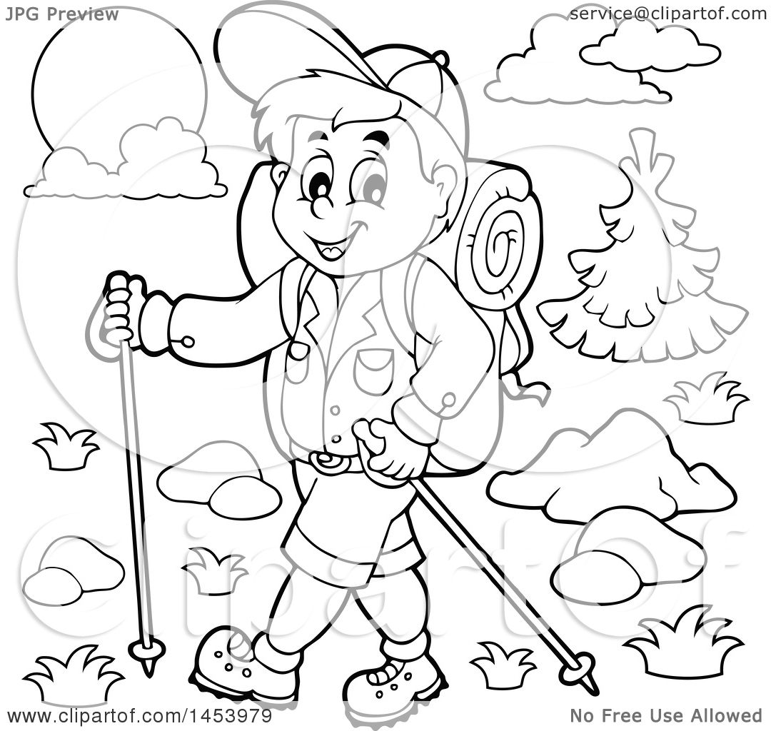 Clipart Of A Black And White Lineart Happy Boy Hiking With Poles   Royalty  Free Vector Illustration By Visekart