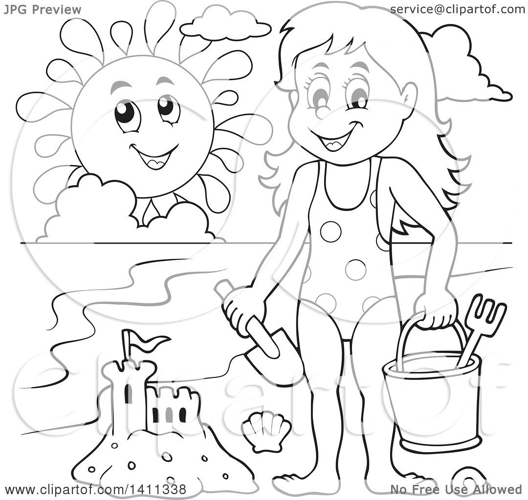clipart of a black and white lineart happy with a sand castle
