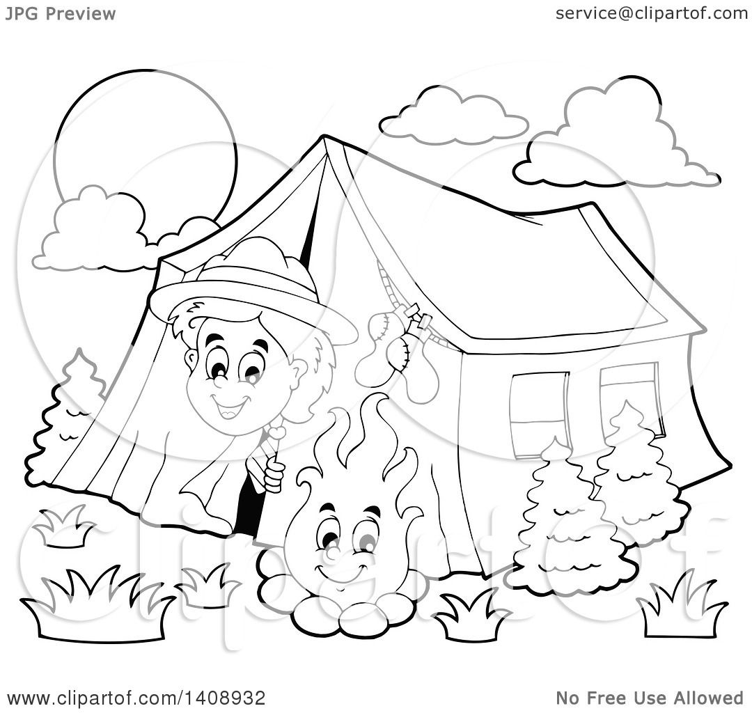 Clipart Of A Black And White Lineart Happy Scout Peeking Out His Tent By Camp Fire