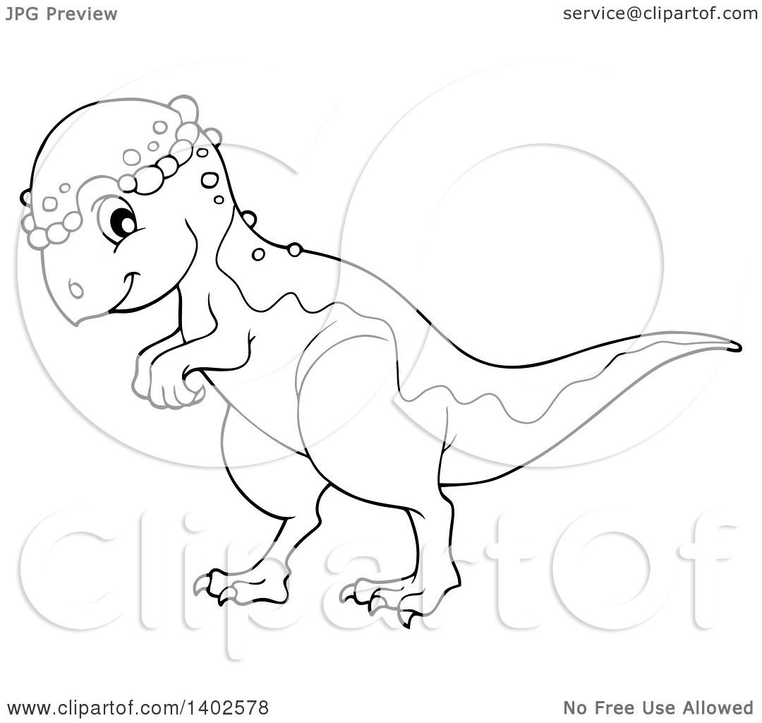 clipart of a black and white lineart pachycephalosaurus dinosaur royalty free vector illustration by visekart