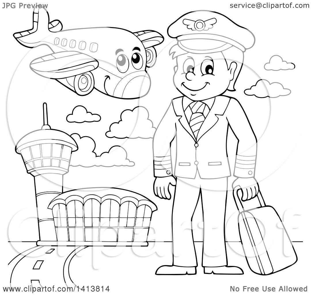 667279f962 Clipart of a Black and White Lineart Pilot and Airplane at an Airport -  Royalty Free