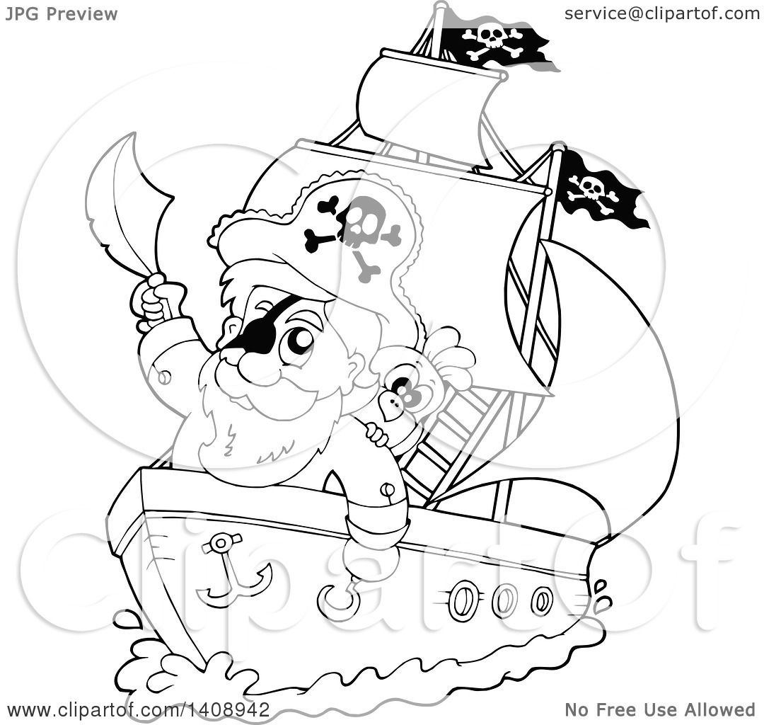 clipart of a black and white lineart pirate captain on a ship