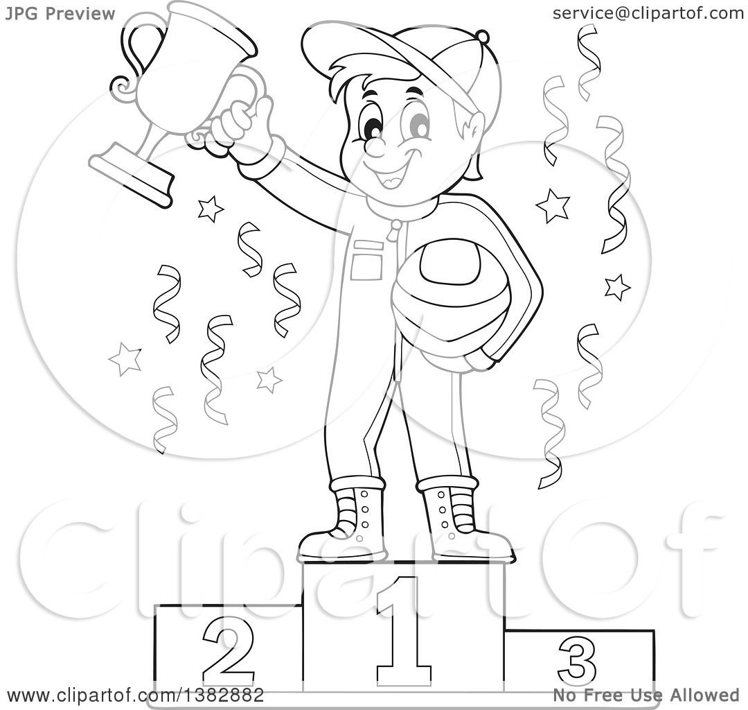 clipart of a black and white lineart race car driver