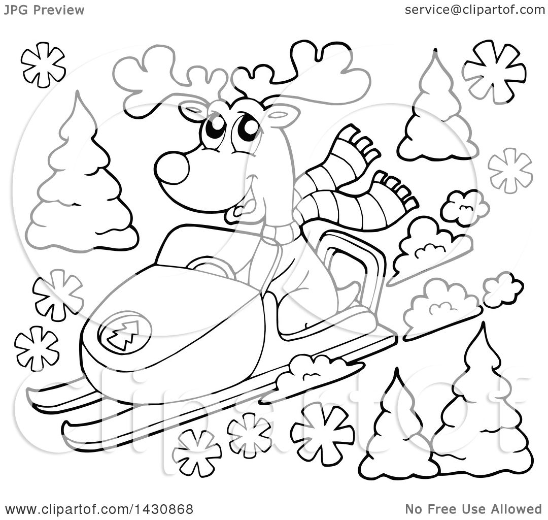 Clipart of a black and white lineart reindeer snow mobiling royalty free vector illustration by