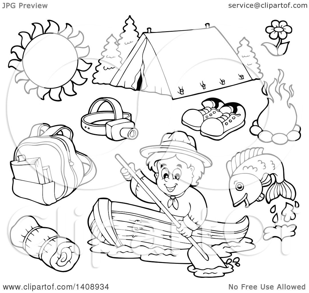 Clipart Of A Black And White Lineart Scout Camping Gear