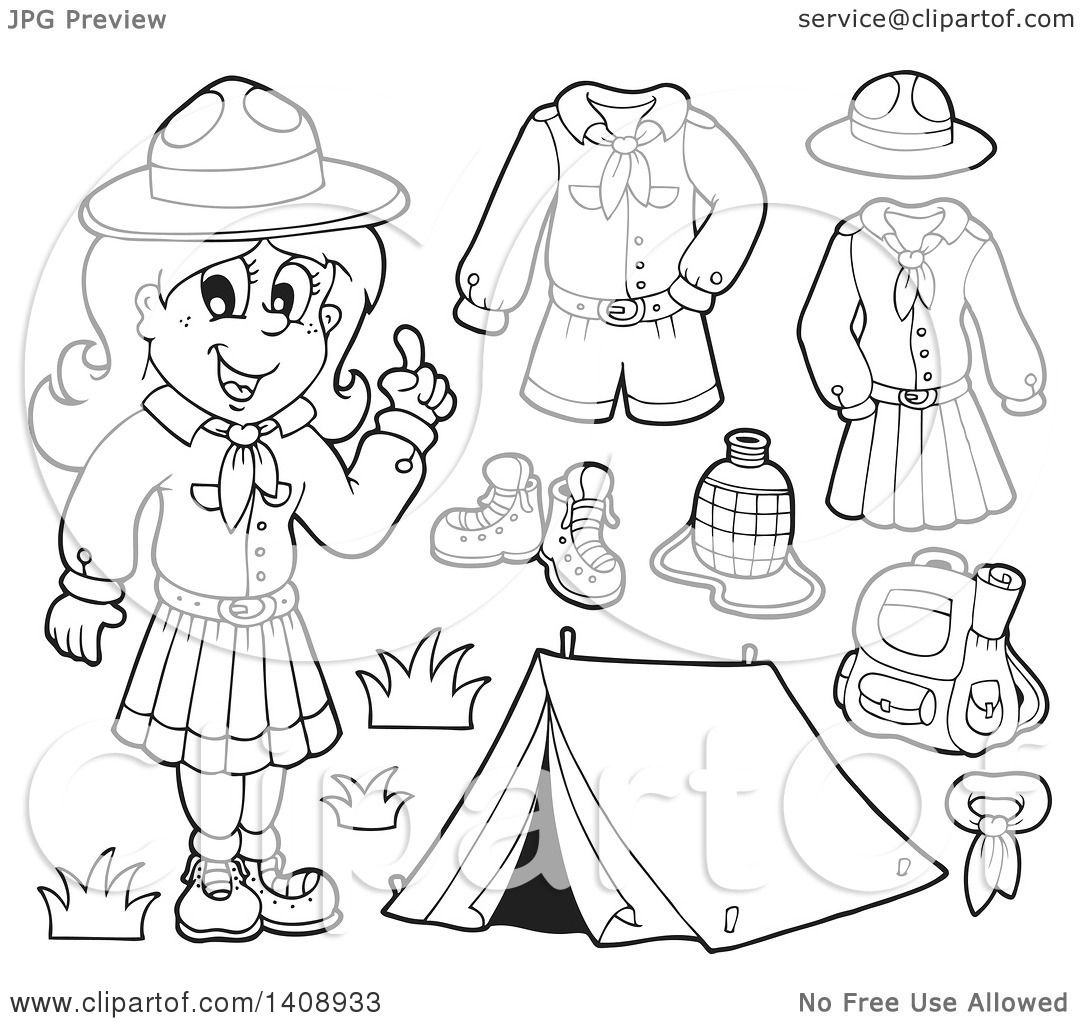 Clipart Of A Black And White Lineart Scout Girl With Camping Gear