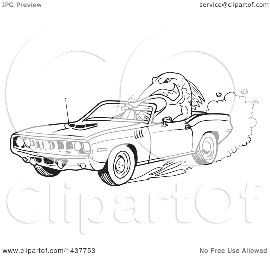 Clipart Of A Black And White Lineart Tough Fish Driving A