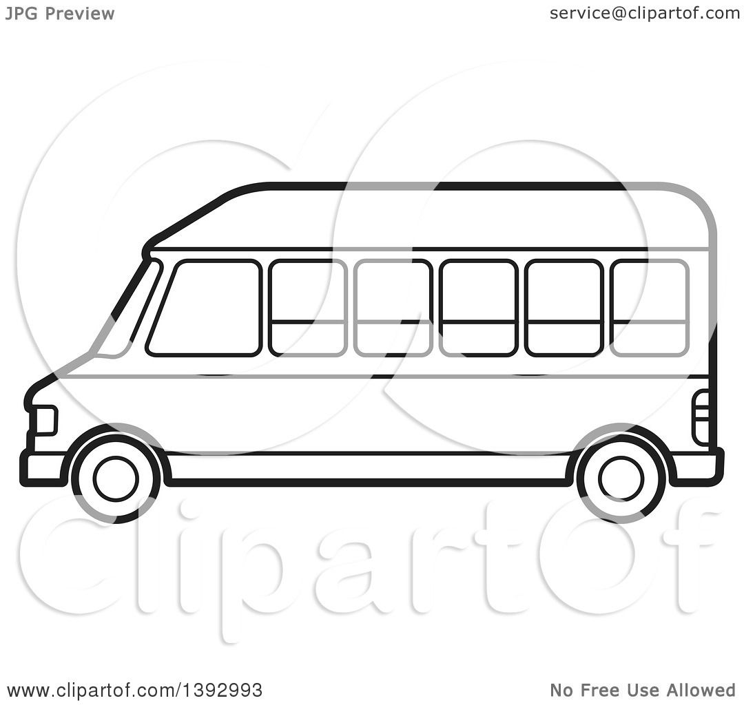 Clipart Of A Black And White Lineart Van Royalty Free Vector