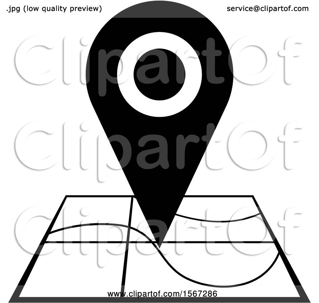 Clipart of a Black and White Location Icon - Royalty Free