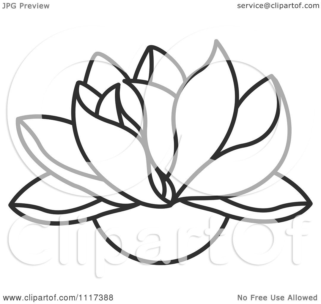 Clipart Of A Black And White Lotus Flower Royalty Free Vector