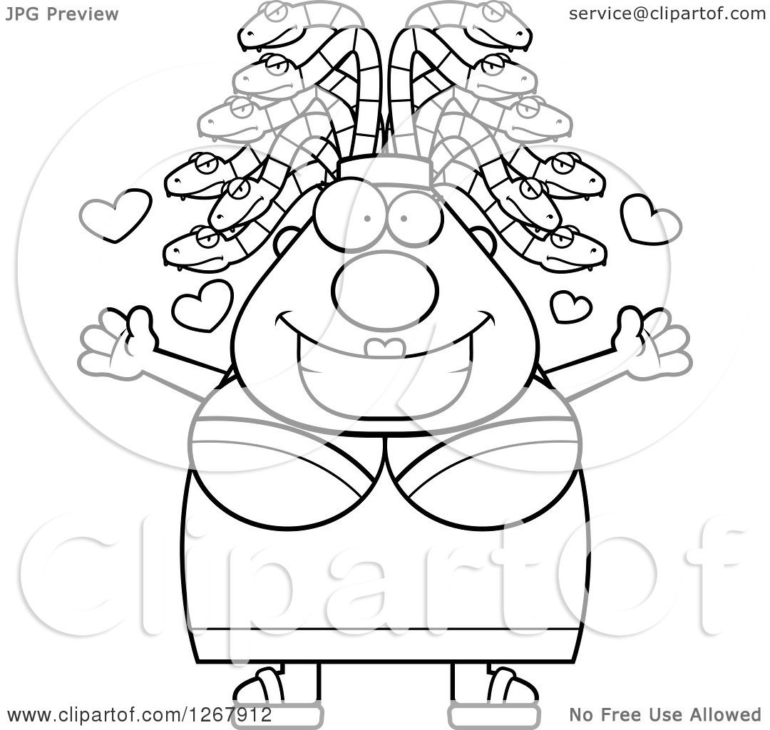 clipart of a black and white loving chubby gorgon medusa woman