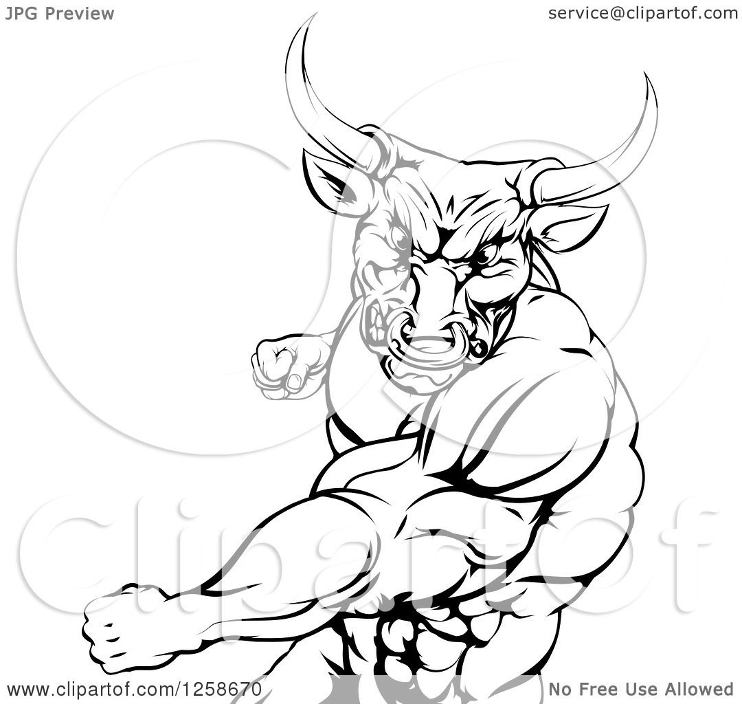 Clipart Of A Black And White Mad Bull Or Minotaur Mascot Punching Minotaur Coloring Pages