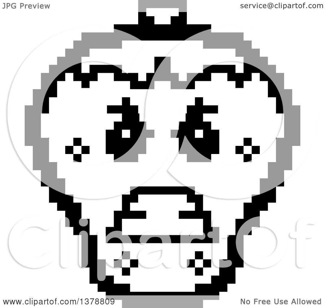 Clipart of a Black and White Mad Strawberry Character in 8 Bit ... for Clipart Strawberry Black And White  59dqh