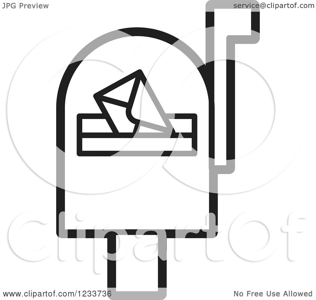 clipart of a black and white mailbox with an envelope royalty free rh clipartof com mailbox clip art black and white Mailbox with Newspaper Clip Art