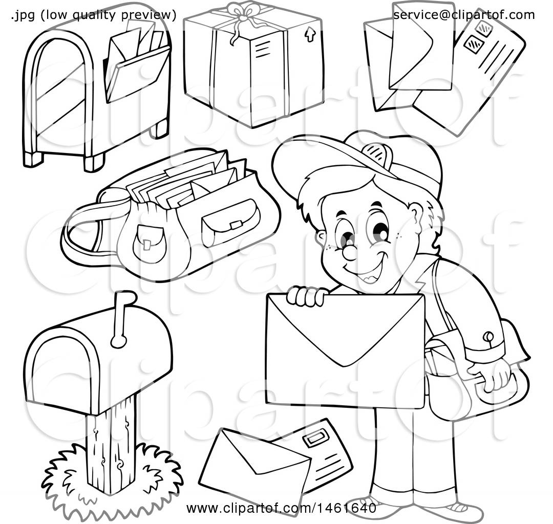 Clipart of a black and white mailman and accessories for Mailman coloring pages