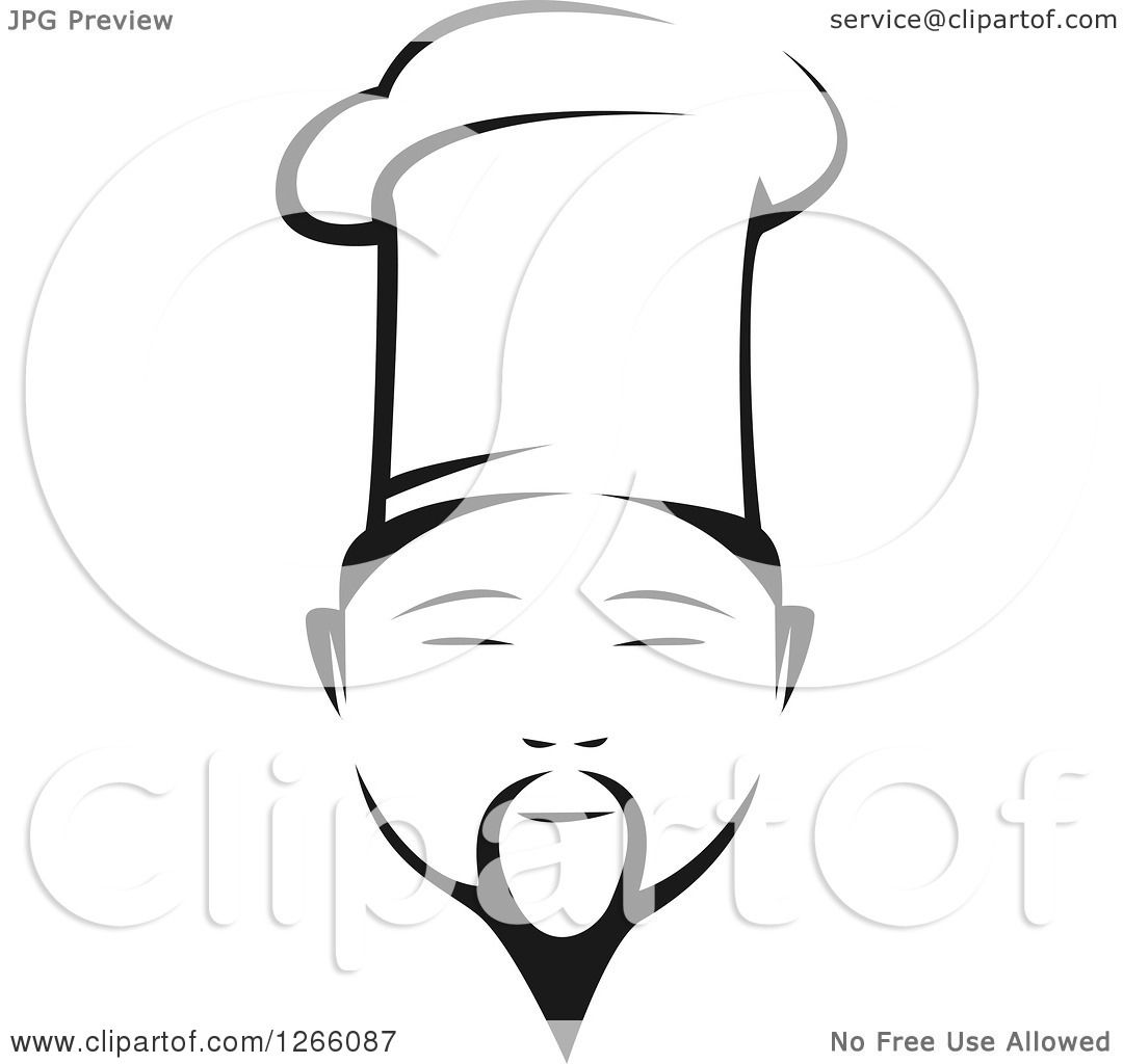 Clipart of a Black and White Male Asian Chef Face - Royalty Free ...