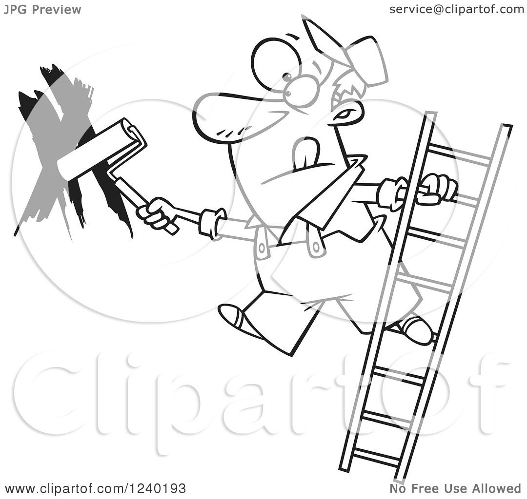 Painting Walls Clipart - Clipart of a black and white man painting a wall and leaning off of a ladder