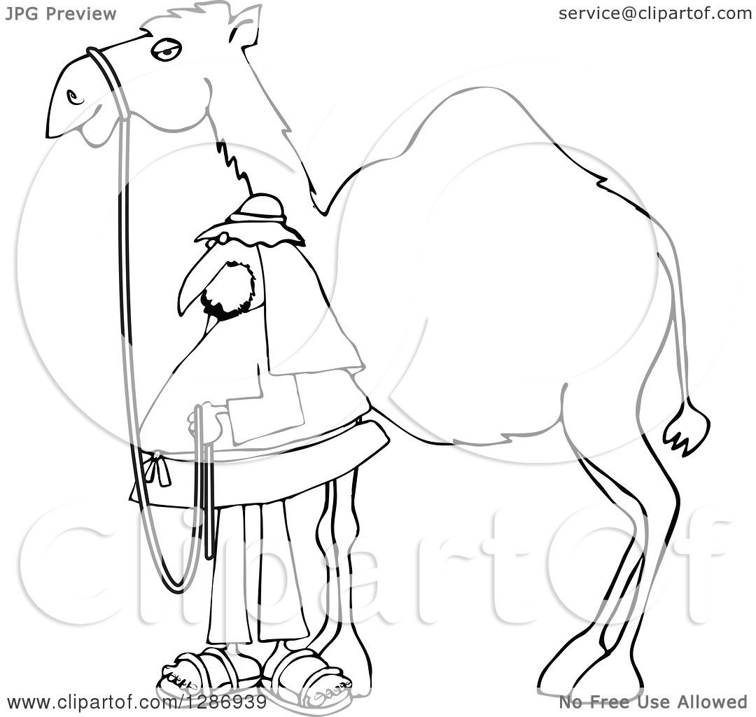 Clipart of a Black and White Man Standing by His Pet Camel ...