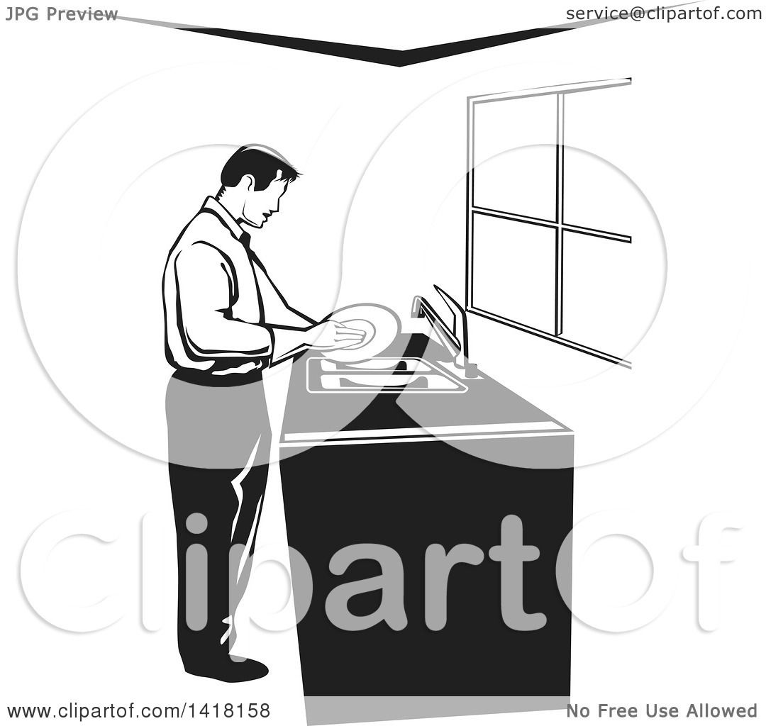 Best Washing Dishes Illustrations Royalty Free Vector: Clipart Of A Black And White Man Washing Dishes